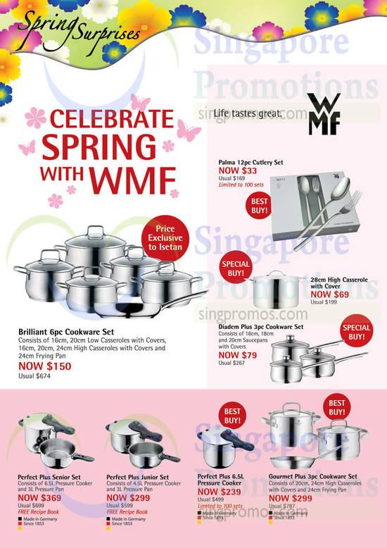 WMF Palma 12pc Cutlery Set, WMF 28cm High Casserole with Cover, WMF Perfect Plus 6.5L Pressure Cooker