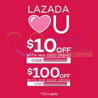 Lazada $10 to $100 OFF Storewide Coupon Codes 4 Mar 2015