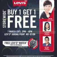 Levi's Buy 1 Get 1 FREE Storewide @ Jurong Point 7 Mar 2015