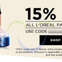 Read more about Luxola 15% OFF L'Oreal Paris (NO Min Spend) Coupon Code 10 - 17 Mar 2015