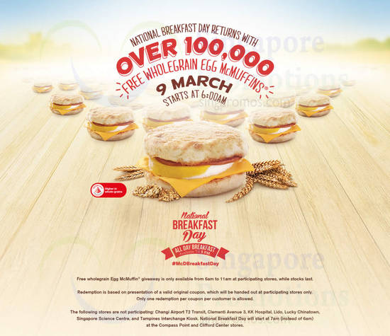 McD National Breakfast Day FREE Egg McMuffins