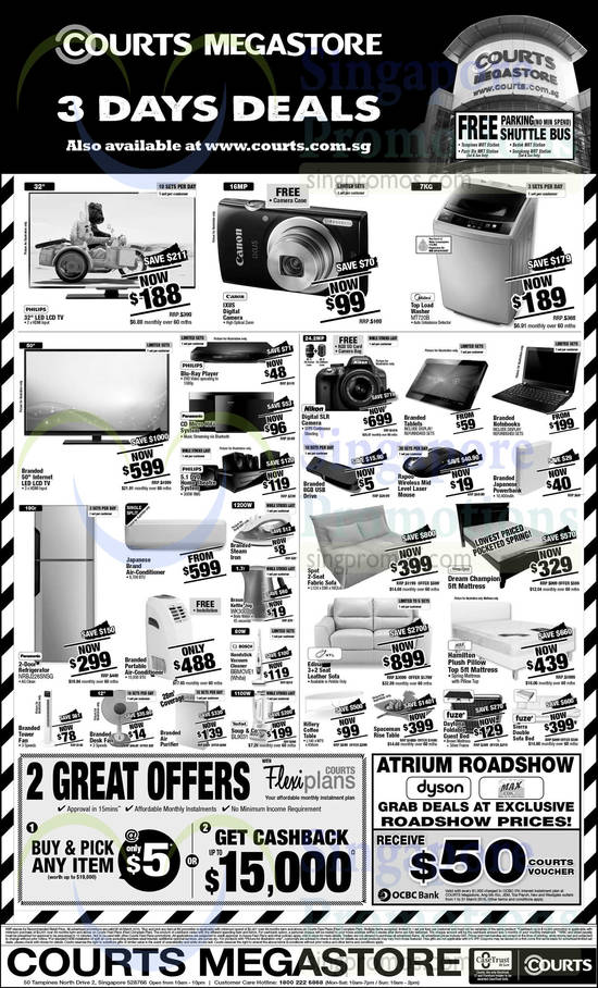 Midea MT720B Washer, Panasonic NRBJ226SNSG Fridge, Braun WK300 Kettle Jug, Bosch BBMOVE1 Vacuum Cleaner, Tefal BL9031 Soup & Co, Sleep Clinic Dream Champion Mattress, HTL Edina Sofa, Max Coil Hamilton Mattress, Fuze Daytona Guest Bed, Fuze Sierra Sofa Bed