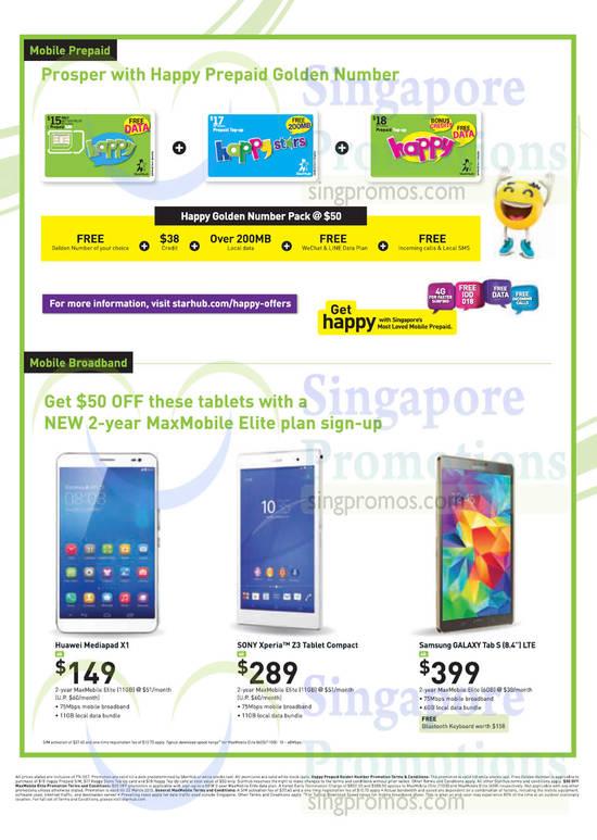 Mobile Broadband Prepaid Golden Number Huawei Mediapad X1
