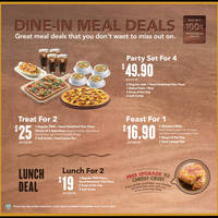 Pizza Hut New Dine-In Meal Deals 4 Mar 2015