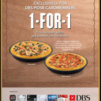 Pizza Hut 1 For 1 Pizza (Dine-in) For DBS/POSB Cardmembers 4 Mar - 14 Apr 2015