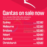 Qantas Airways Promo Fares 5 - 31 Mar 2015