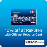 Read more about Rakuten 10% OFF Coupon Code For Citibank Reward Cardmembers 22 Mar 2015 - 29 Feb 2016