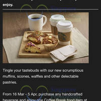 Read more about Starbucks Buy Handcrafted Beverage & Get $1 Off Coffee Break Items 16 Mar - 5 Apr 2015