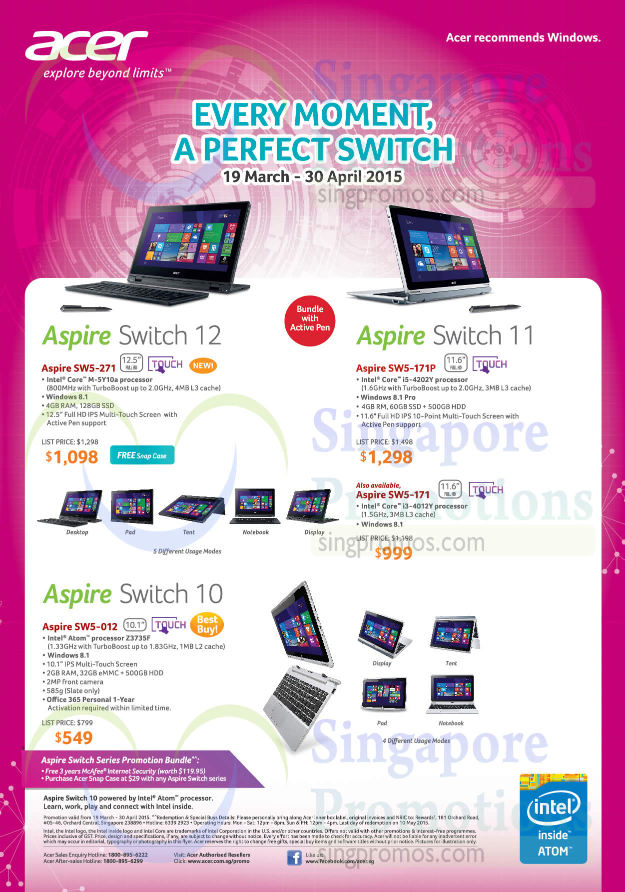 Acer Aspire SW5-271 Tablet, Acer Aspire SW5-171P Tablet, Acer Aspire SW5-171 Tablet, Acer Aspire SW5-012 Tablet