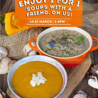 Read more about The Soup Spoon 1 for 1 Soup 4hr Daily Promotion 14 - 22 Mar 2015