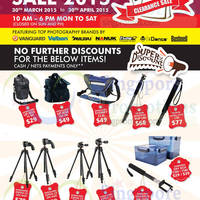 Lau (International) Camera Accessories Warehouse Clearance 30 Mar - 30 Apr 2015