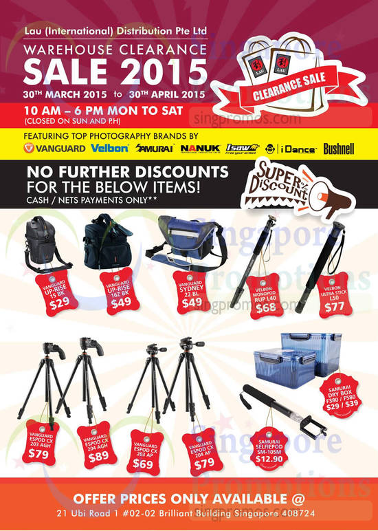 Tripods, Bags, Dry Boxes, Vanguard, Velbon, Samurai