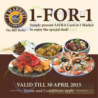 1 Market by Chef Wan 1-for-1 Lunch & Dinner Buffet For Safra Members (Weekdays) 21 - 30 Apr 2015