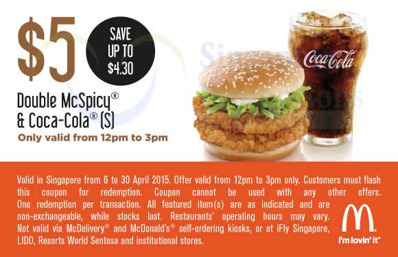 (12 – 3pm) 5.00 Double McSpicy n Coca-Cola
