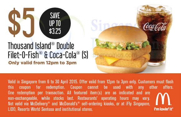 (12 – 3pm) 5.00 Thousand Island Double Filet-O-Fish n Coca-Cola