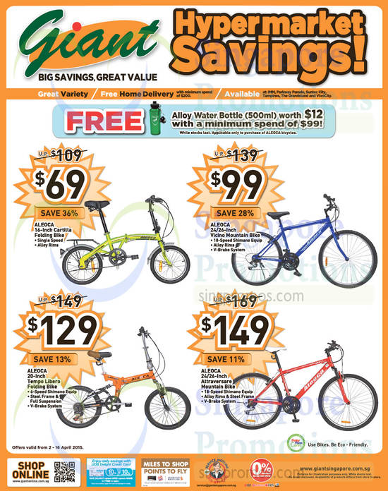 Aleoca 16-Inch Cartilla Folding Bike, Aleoca 24/26-Inch Vicino Mountain Bike, Aleoca 20-Inch Tempo Libero Folding Bike, Aleoca 24/26-Inch Attraversare Mountain Bike