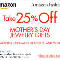 Read more about Amazon.com 25% OFF Mother's Day Jewellery Gifts (NO Min Spend) Coupon Code 24 Apr - 1 May 2015