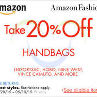 Amazon.com 20% OFF Handbags (NO Min Spend) Coupon Code 29 Apr - 11 May 2015