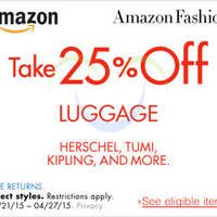 Read more about Amazon.com 25% OFF Luggages (NO Min Spend) Coupon Code 22 - 28 Apr 2015