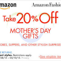 Amazon.com 20% OFF Mother's Day Fashion Gifts (NO Min Spend) Coupon Code 29 Apr - 11 May 2015