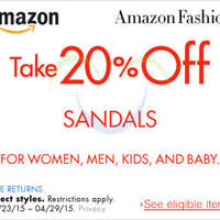 Read more about Amazon.com 20% OFF Sandals (NO Min Spend) Coupon Code 23 - 30 Apr 2015