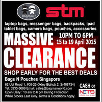Read more about Bagman Bags & STM Bags Clearance Sale 15 - 19 Apr 2015