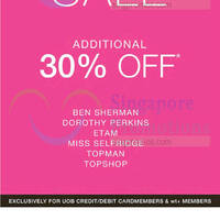 Read more about Ben Sherman, Dorothy Perkins, Etam, Miss Selfridge, Topman, Topshop 30% Off Promo 23 Apr - 3 May 2015