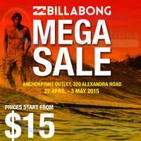 Billabong Mega Sale @ Anchorpoint 27 Apr - 3 May 2015