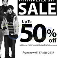 Read more about Coldwear Anniversary Sale 30 Apr - 17 May 2015
