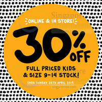 Read more about Cotton On Kids 30% OFF Promotion 22 - 26 Apr 2015