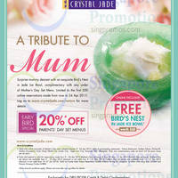 Read more about Crystal Jade 20% Off Parents' Day Set Menus For DBS/POSB Cardmembers 16 - 24 Apr 2015