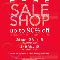 Etro Up To 90% Off Sale @ Paragon 29 Apr - 9 May 2015