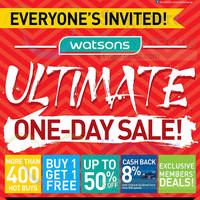 Watsons Ultimate One-Day Sale @ 63 Stores 29 Apr 2015