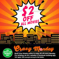 Golden Village Cinemas $2 Off Movie Tickets Promo (Mondays) 27 Apr - 25 May 2015