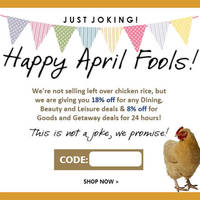 Groupon 8% to 18% OFF (NO Min Spend) 1-Day Coupon Code 1 Apr 2015