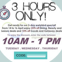 Read more about Groupon 10% to 20% OFF (NO Min Spend) 10am to 1pm Coupon Code 14 - 16 Apr 2015