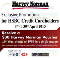 Read more about Harvey Norman Spend $999 & Get Free $30 Voucher For HSBC Cardmembers 3 - 30 Apr 2015
