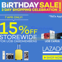 Read more about Lazada 15% OFF Storewide (NO Min Spend) 24hr Promo For UOB Cardmembers 7 Apr 2015