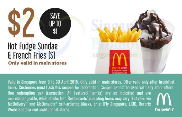 (Main Stores) 2.00 Hot Fudge Sundae n French Fries