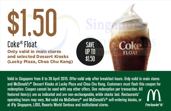(Main Stores, Selected Dessert Kiosks) 1.50 Coke Float