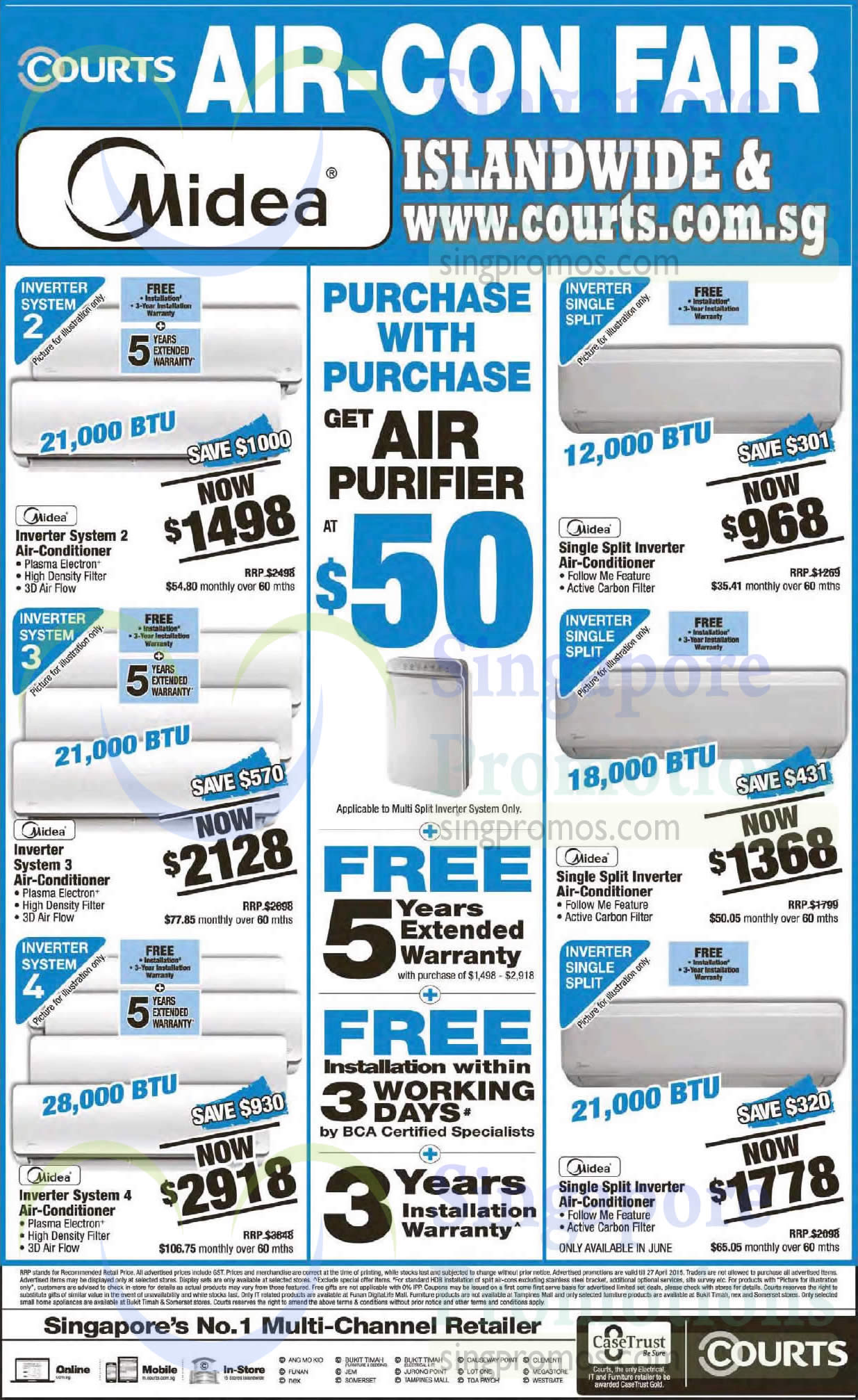 Midea Air Conditioners, Purchase With Purchase, Inverter System 2, Inverter System 3, Inverter System 4, Single Split Inverter