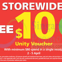 NTUC Unity Spend $80 & Get Free $10 Voucher 2 - 5 Apr 2015