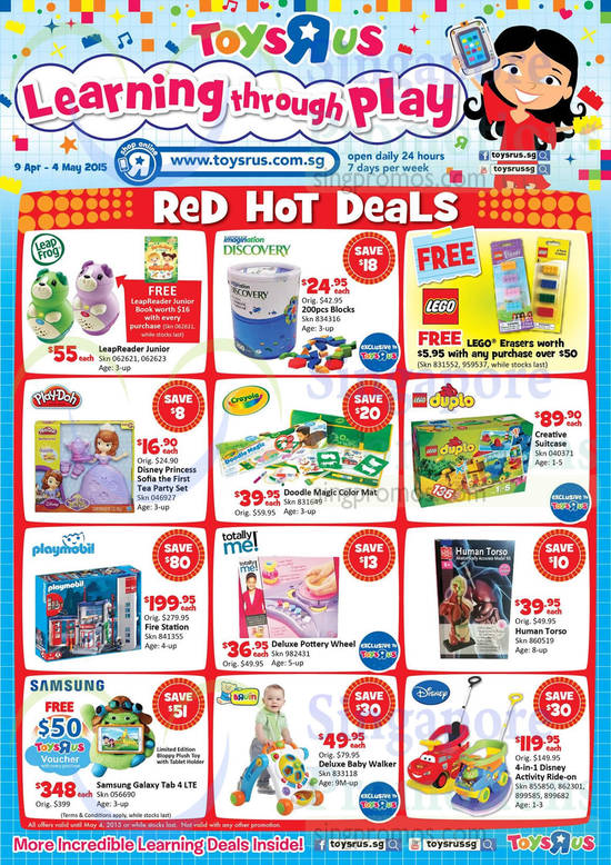 Red Hot Deals Toys, LeapFrog, Imagination Discovery, Lego, Play Doh, Crayola, Duplo, Playmobil, Human Torso, Disney