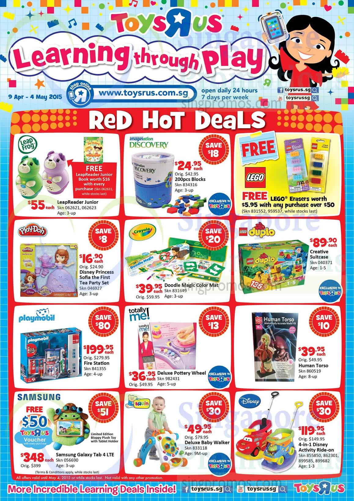 Red Hot Deals Toys, LeapFrog, Imagination Discovery, Lego, Play Doh, Crayola, Duplo, Playmobil, Human Torso, Disney