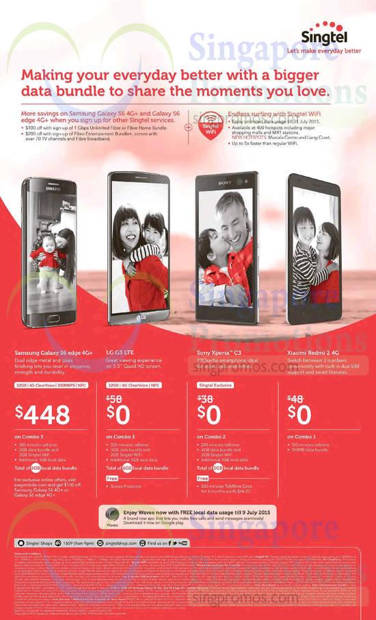 Samsung Galaxy S6 Edge, LG G3, Sony Xperia C3, Xiaomi Redmi 2