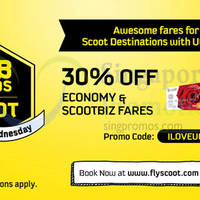 Scoot 30% Off Fares For UOB Cardmembers 24hr Promo (8am to 8am) 29 - 30 Apr 2015
