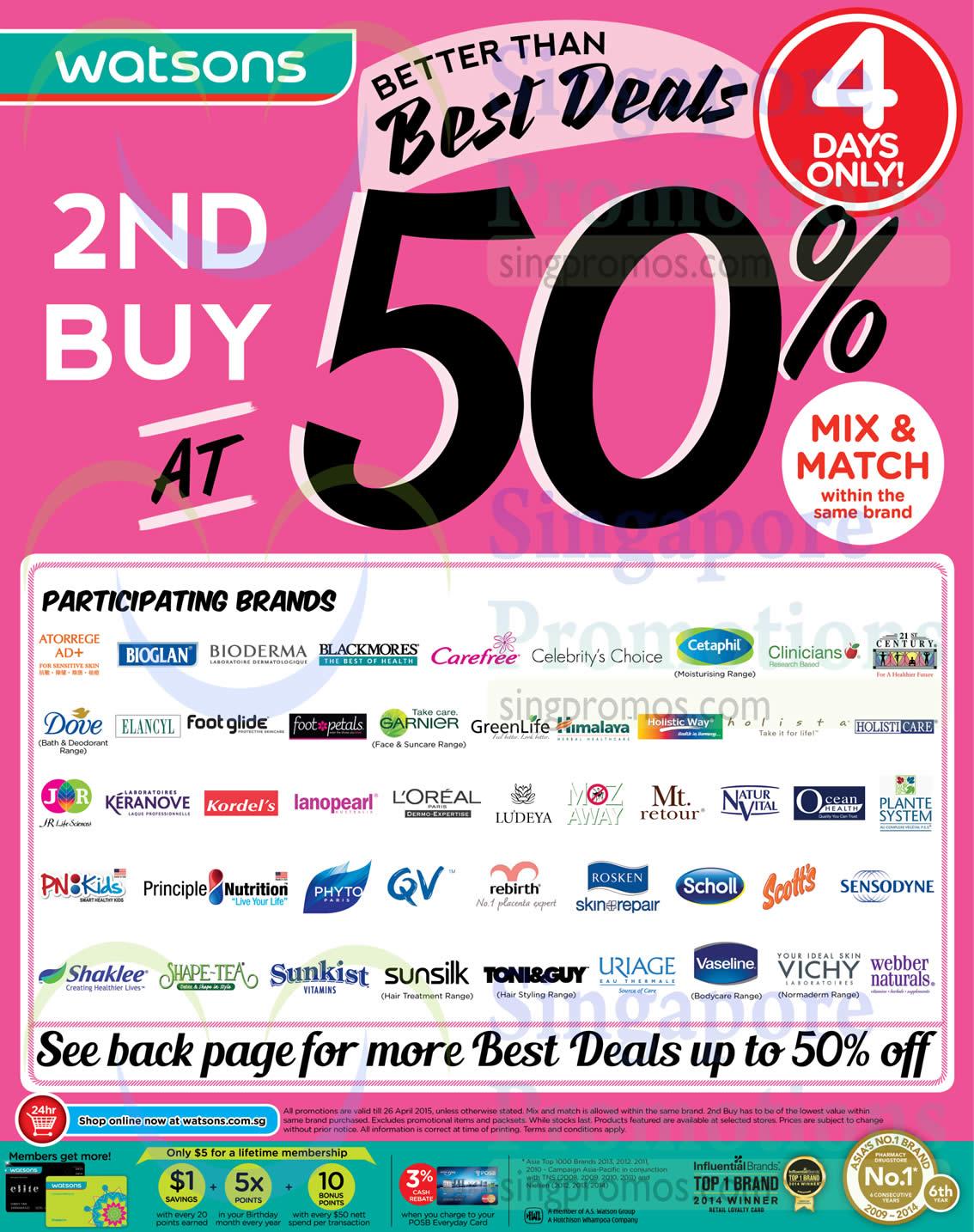 (Till 26 Apr) 2nd Buy at 50 Percent Off, Mix n Match Same Brand, Bioglan, Blackmores , Carefree, Celebrity's Choice, Cetaphil, Dove, Garnier