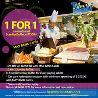 Todai 1 for 1 International Buffet For Maybank Cardmembers (Sundays) 3 - 31 May 2015
