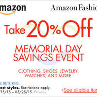 Read more about Amazon.com 20% OFF Fashion Products (NO Min Spend) Coupon Code 19 - 26 May 2015