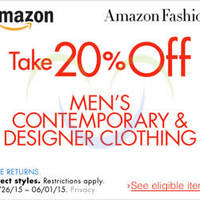 Read more about Amazon.com 20% OFF Men's Designer Clothing (NO Min Spend) Coupon Code 26 May - 2 Jun 2015